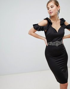 Read more about Little mistress cold shoulder pencil dress with embellished waist detail - black