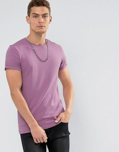 Read more about Asos muscle fit t-shirt with crew neck and roll sleeve - plumful