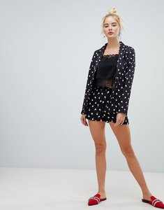 Read more about Fashion union high waist tailored shorts in spot rose print co-ord - black rose print