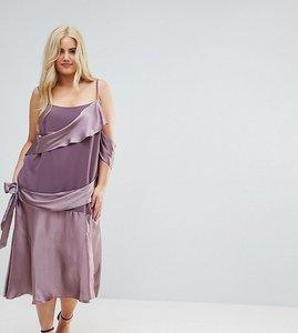Read more about Asos curve colourblock satin midi dress with tie detail - mauve