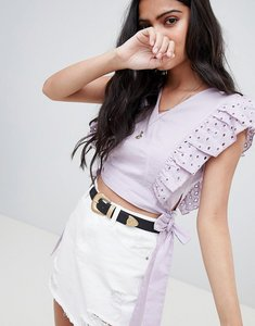 Read more about Glamorous crop top with broderie frill and waist ties - lilac