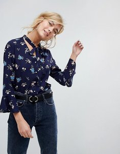 Read more about Willow and paige button front blouse with tie neck in vintage floral - navy multi