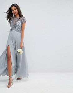 Read more about Asos bridemaid delicate beaded bodice maxi dress - soft grey