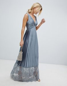 Read more about Little mistress pleated maxi dress with lace hem detail - pewter