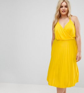 Read more about Asos curve blouson wrap midi dress with pleated skirt - yellow