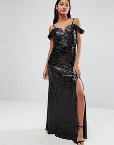 Read more about Tfnc sweetheart sequin maxi dress with cold shoulder - black