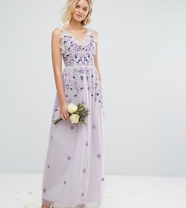 Read more about Amelia rose vintage embroided maxi dress with embellishment - soft lilac