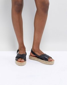 Read more about Alohas leather crossed platform espadrille - black