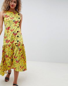 Read more about Asos design maxi tea dress with dropped hem and contrast buttons in floral print - floral print