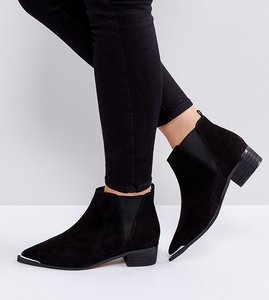 Read more about Asos admission wide fit pointed ankle boots - black
