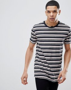 Read more about Bershka t-shirt with stripes in navy and pink - pink