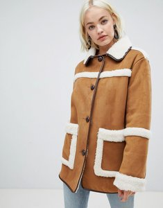 Read more about Asos design vintage style borg jacket - brown