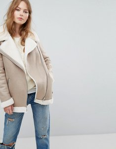 Read more about New look faux shearling suedette aviator jacket - oatmeal
