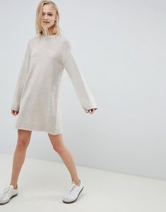 Read more about Asos design knitted mini dress in fluffy yarn - oatmeal