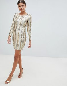 Read more about Girl in mind open back sequin mini dress - gold