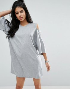 Read more about Asos kimono sleeve cold shoulder dress - grey marl