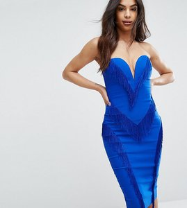 Read more about Rare london sweetheart pencil dress with fringing - cobalt