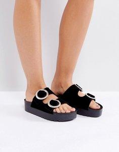 Read more about Sixtyseven flatform slide sandal - black velvet