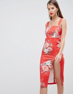 Read more about Asos design floral print midi pencil dress with thigh split - multi