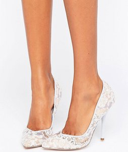 Read more about Paper dolls pointed stiletto court shoe with lace overlay - pale blue