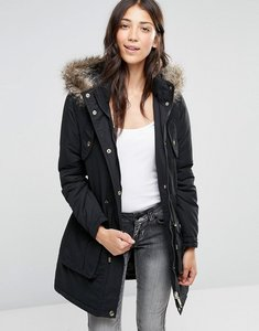 Read more about Brave soul hooded parka with faux fur trim - black