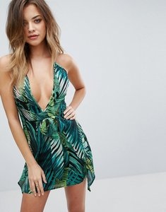 Read more about Prettylittlething tropical print halterneck dress - multi