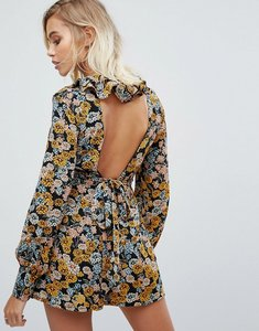 Read more about Fashion union playsuit with low back in floral print - floral