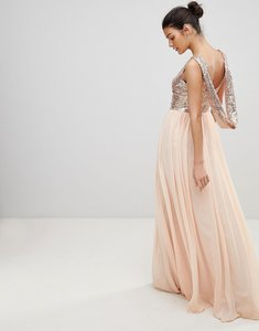 Read more about City goddess cowl back sequin and chiffon maxi dress - pale pink