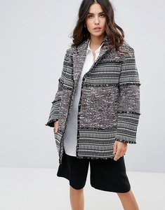 Read more about French connection pixel mix cotton cocoon coat - black multi