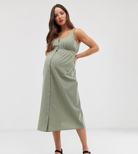 Read more about Asos design maternity casual popper front midi dress