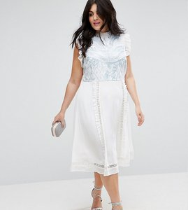 Read more about Asos curve premium sleeveless embroidered dress - cream