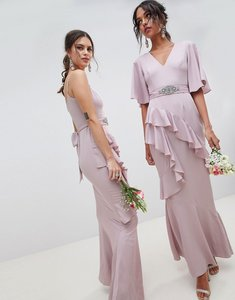 Read more about Asos design bridesmaid ruffle flutter sleeve maxi dress with embellished belt - mink