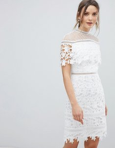 Read more about Chi chi london lace high neck mini dress - white