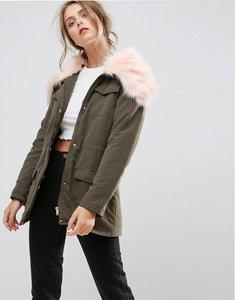 Read more about Missguided faux fur collar parka coat - khaki