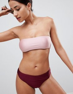 Read more about Missguided textured bandeau bikini top - pink