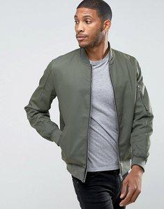 Read more about Asos cotton bomber jacket with sleeve zip in khaki - khaki