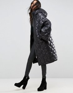 Read more about Asos puffer coat in diamond quilt - black