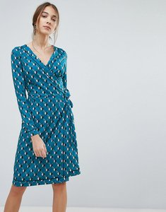 Read more about Uttam boutique geometric daisy print wrap dress - teal