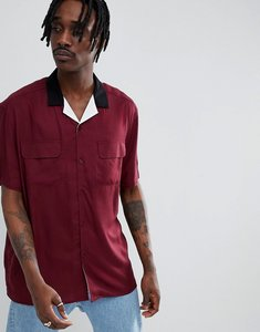 Read more about Asos design regular fit shirt with contrast revere collar in white black - burgundy