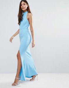 Read more about Club l choker neck detail maxi dress with thigh split - baltic sea