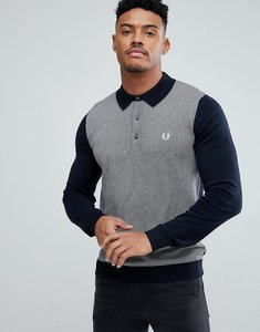 Read more about Fred perry jacquard knitted polo shirt in navy - 608