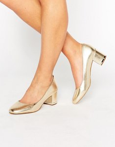 Read more about Aldo falia gold leather block mid heeled shoes - gold