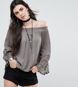 Read more about Glamorous tall bardot top with lace sleeve detail - khaki