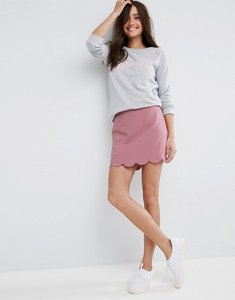 Read more about Asos tailored a-line mini skirt with scallop hem - blush