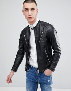 Read more about Replay leather biker jacket with zip detail - black
