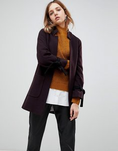 Read more about Helene berman wool and cashmere blend notch collar coat with tie cuffs - burgundy black