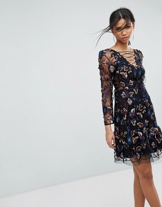 Read more about Tresophie allover embroidery tie up dress - black pattern