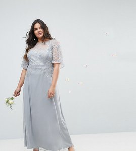 Read more about Asos design curve bridesmaid embellished lace insert flutter sleeve maxi dress - grey