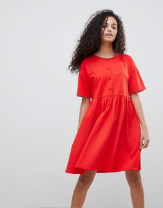 Read more about Asos design button front short sleeve smock dress - red