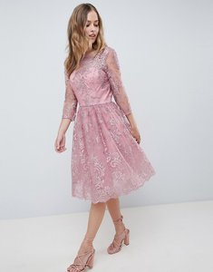 Read more about Chi chi london premium embroidered long sleeve midi dress - dusky pink